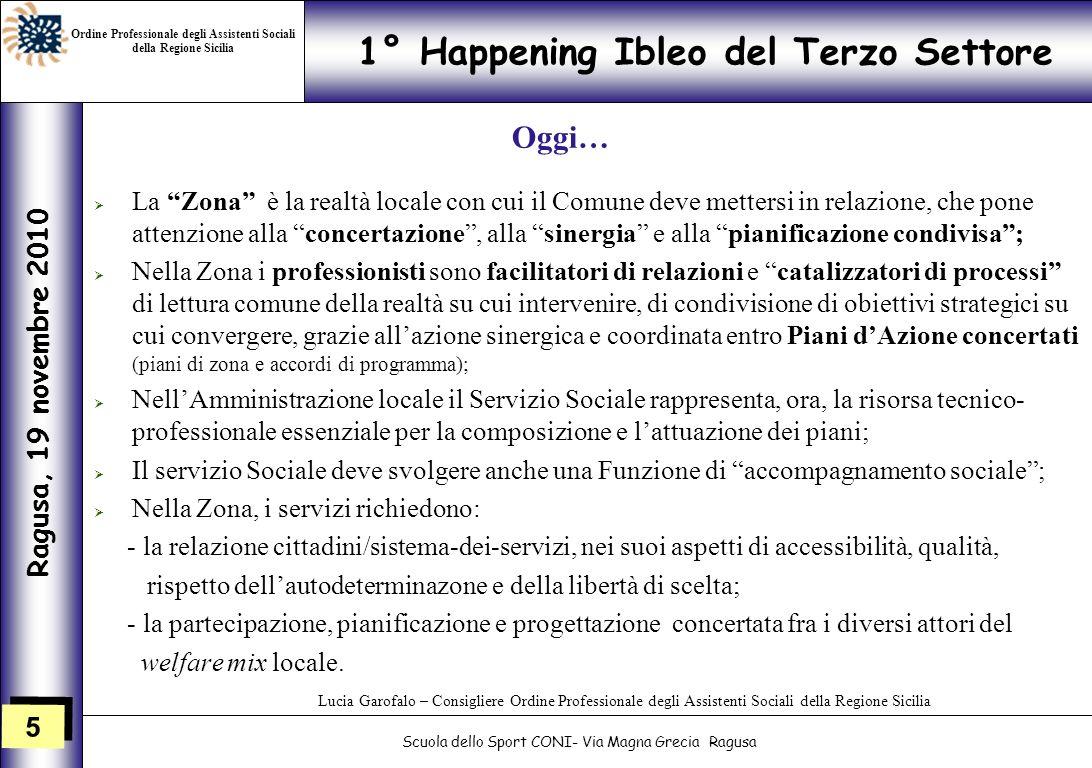 5 5 1° Happening Ibleo del Terzo Settore Ragusa, 19 novembre 2010 Scuola dello Sport CONI- Via Magna Grecia Ragusa Lucia Garofalo – Consigliere Ordine