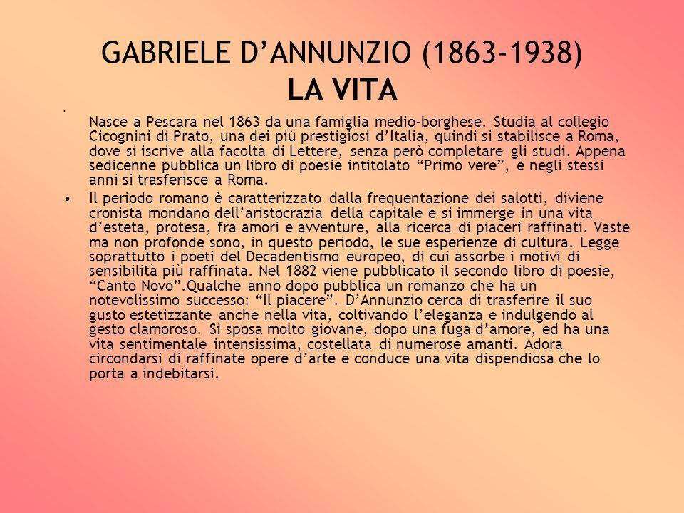 GABRIELE DANNUNZIO (1863-1938) LA VITA Nasce a Pescara nel 1863 da una famiglia medio-borghese. Studia al collegio Cicognini di Prato, una dei più pre