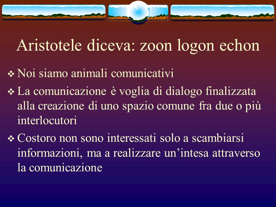 Aristotele diceva: zoon logon echon Noi siamo animali comunicativi La comunicazione è voglia di dialogo finalizzata alla creazione di uno spazio comun