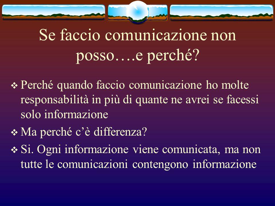 Se faccio comunicazione non posso….e perché? Perché quando faccio comunicazione ho molte responsabilità in più di quante ne avrei se facessi solo info