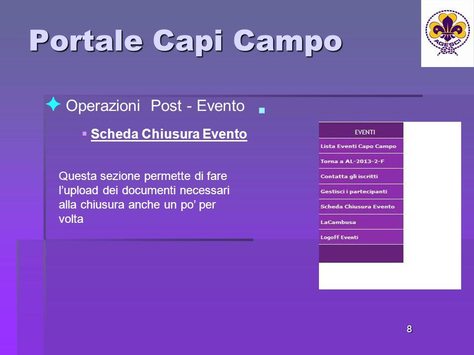 Portale Capi Campo 8 Operazioni Post - Evento Scheda Chiusura Evento Questa sezione permette di fare lupload dei documenti necessari alla chiusura anche un po per volta
