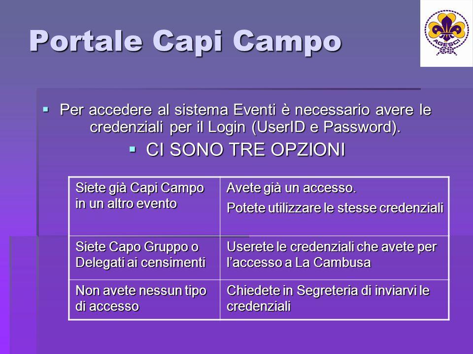 Portale Capi Campo Per accedere al sistema Eventi è necessario avere le credenziali per il Login (UserID e Password).