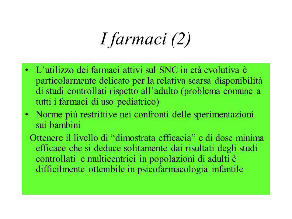 I farmaci (2) Lutilizzo dei farmaci attivi sul SNC in età evolutiva è particolarmente delicato per la relativa scarsa disponibilità di studi controlla