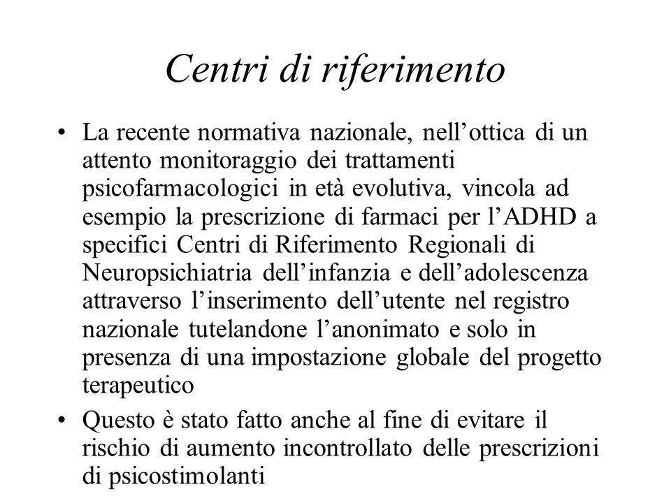 Centri di riferimento La recente normativa nazionale, nellottica di un attento monitoraggio dei trattamenti psicofarmacologici in età evolutiva, vinco