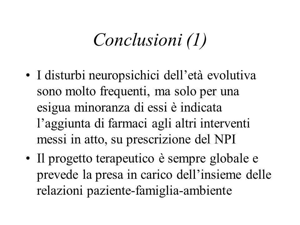 Conclusioni (1) I disturbi neuropsichici delletà evolutiva sono molto frequenti, ma solo per una esigua minoranza di essi è indicata laggiunta di farmaci agli altri interventi messi in atto, su prescrizione del NPI Il progetto terapeutico è sempre globale e prevede la presa in carico dellinsieme delle relazioni paziente-famiglia-ambiente