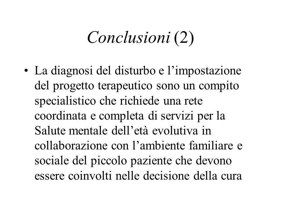 Conclusioni (2) La diagnosi del disturbo e limpostazione del progetto terapeutico sono un compito specialistico che richiede una rete coordinata e com