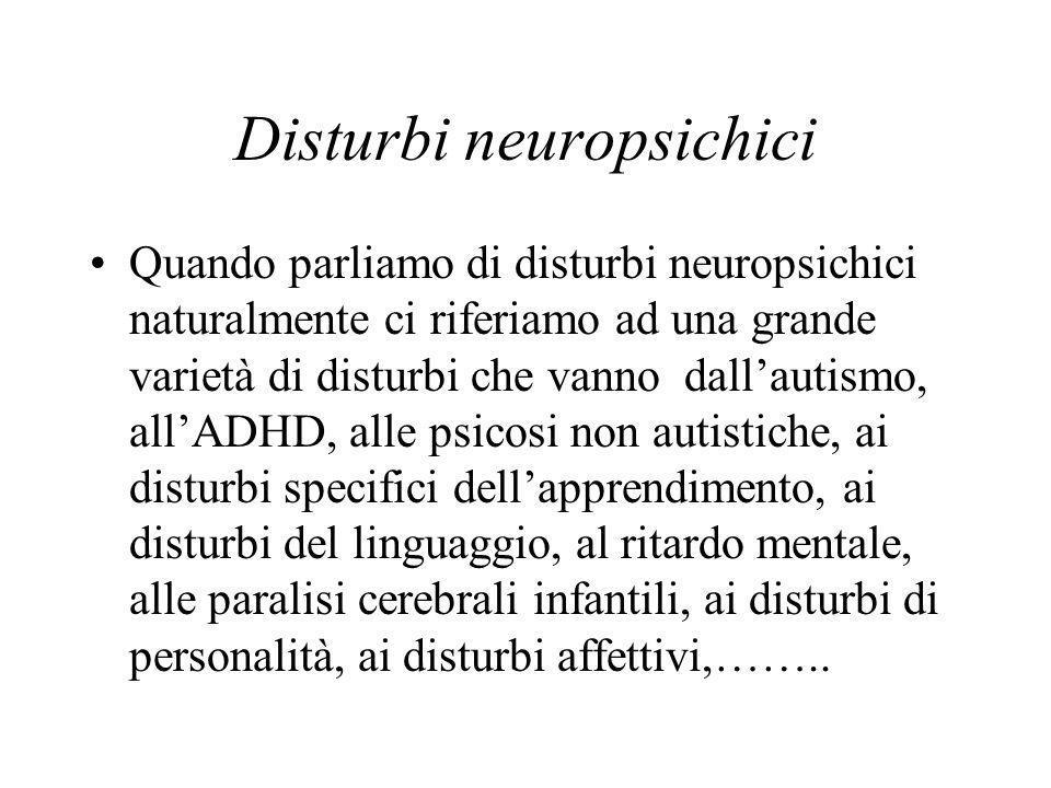 Disturbi neuropsichici Quando parliamo di disturbi neuropsichici naturalmente ci riferiamo ad una grande varietà di disturbi che vanno dallautismo, allADHD, alle psicosi non autistiche, ai disturbi specifici dellapprendimento, ai disturbi del linguaggio, al ritardo mentale, alle paralisi cerebrali infantili, ai disturbi di personalità, ai disturbi affettivi,……..