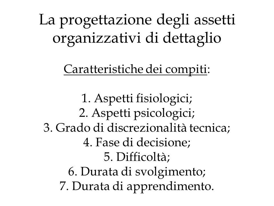 La progettazione degli assetti organizzativi di dettaglio Caratteristiche dei compiti: 1.