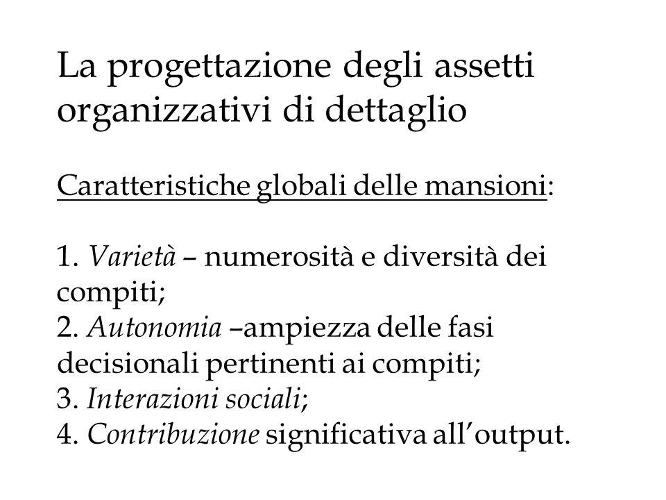 La progettazione degli assetti organizzativi di dettaglio Caratteristiche globali delle mansioni: 1.