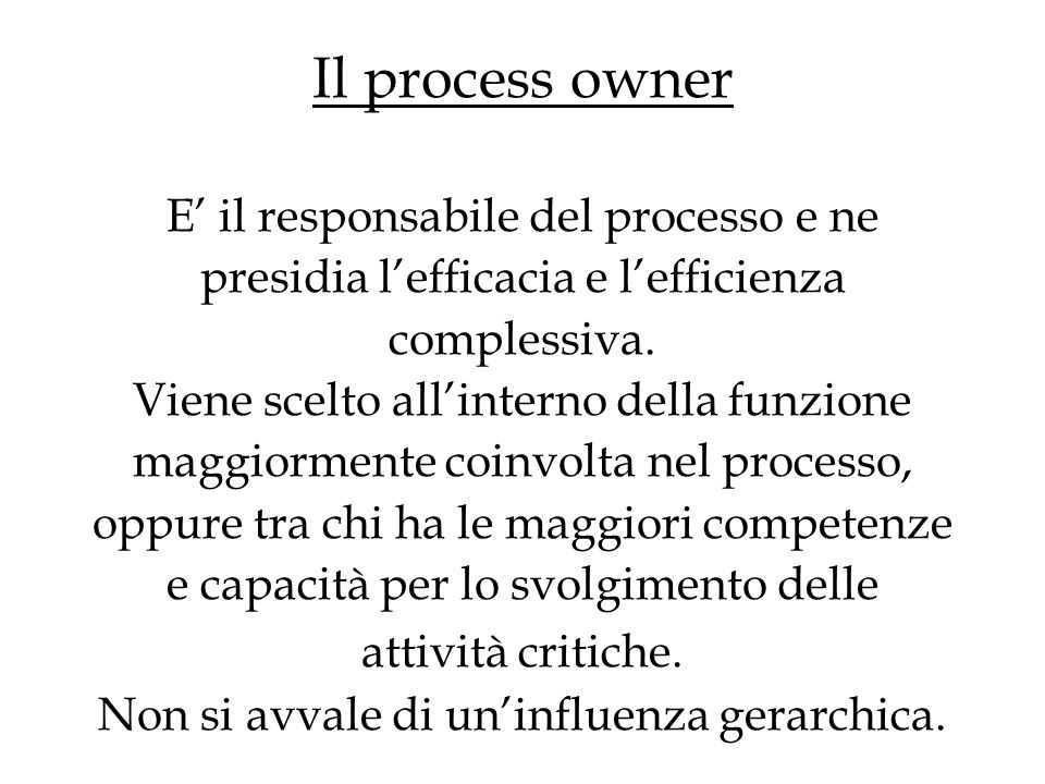 Il process owner E il responsabile del processo e ne presidia lefficacia e lefficienza complessiva.