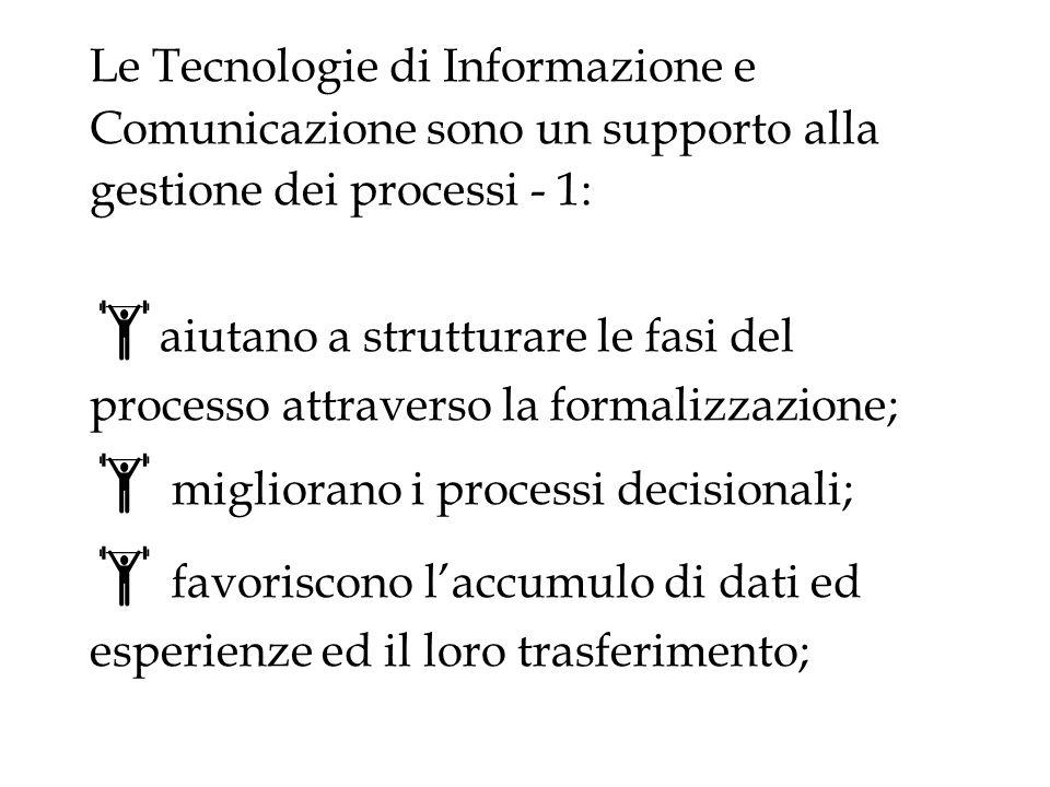 Le Tecnologie di Informazione e Comunicazione sono un supporto alla gestione dei processi - 1: aiutano a strutturare le fasi del processo attraverso la formalizzazione; migliorano i processi decisionali; favoriscono laccumulo di dati ed esperienze ed il loro trasferimento;