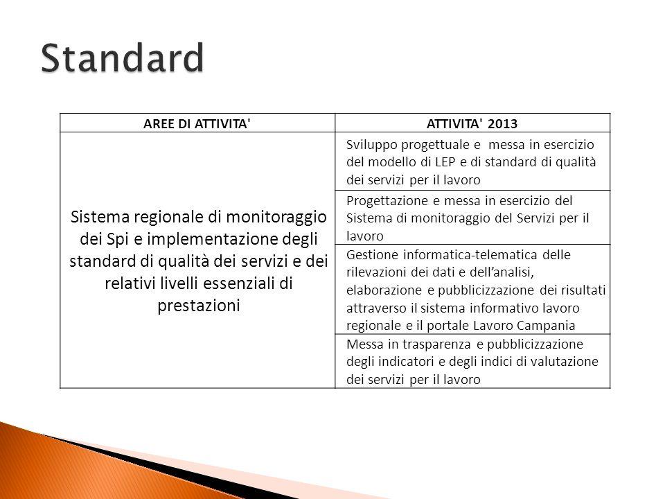 AREE DI ATTIVITA'ATTIVITA' 2013 Sistema regionale di monitoraggio dei Spi e implementazione degli standard di qualità dei servizi e dei relativi livel