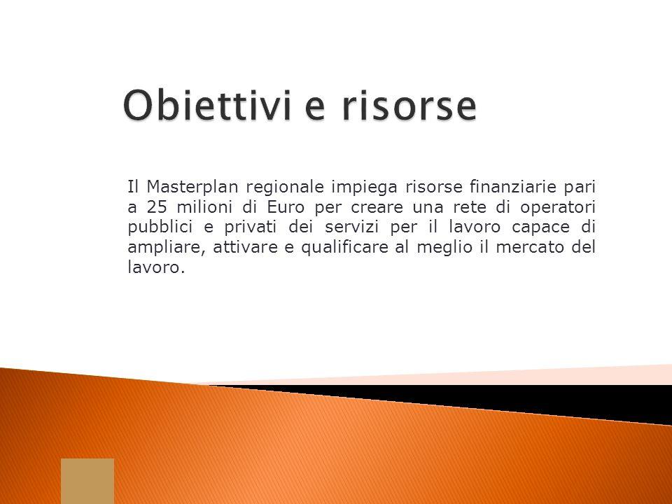 Il Masterplan regionale impiega risorse finanziarie pari a 25 milioni di Euro per creare una rete di operatori pubblici e privati dei servizi per il l