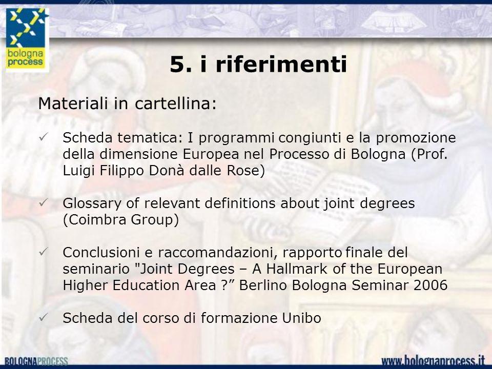 5. i riferimenti Materiali in cartellina: Scheda tematica: I programmi congiunti e la promozione della dimensione Europea nel Processo di Bologna (Pro