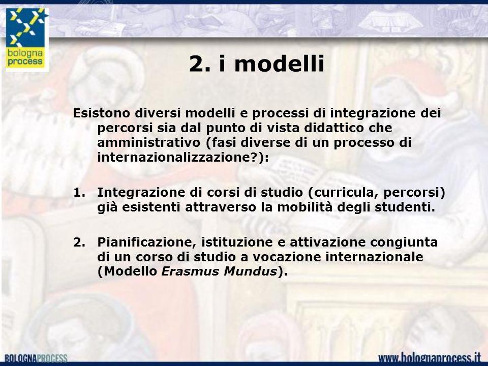 2. i modelli Esistono diversi modelli e processi di integrazione dei percorsi sia dal punto di vista didattico che amministrativo (fasi diverse di un