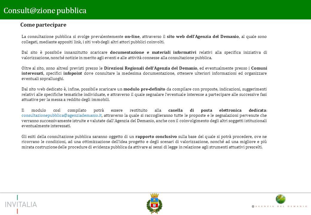 Come partecipare Consult@zione pubblica La consultazione pubblica si svolge prevalentemente on-line, attraverso il sito web dellAgenzia del Demanio, al quale sono collegati, mediante appositi link, i siti web degli altri attori pubblici coinvolti.
