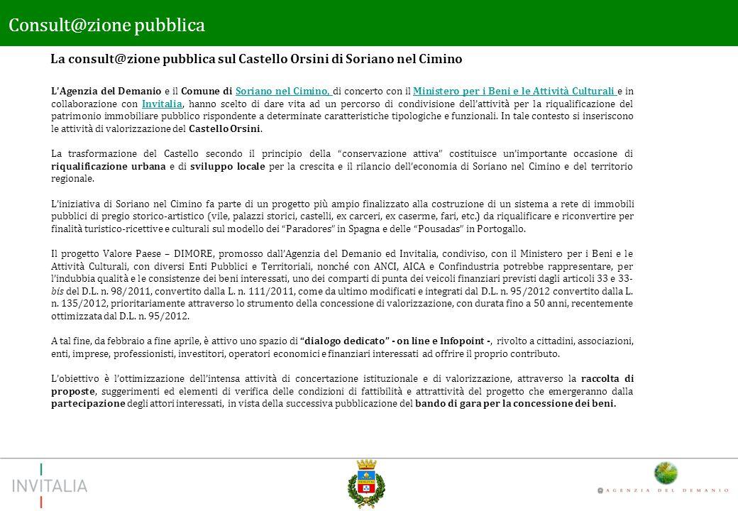 Il tema Consult@zione pubblica Il tema della consultazione pubblica riguarda lattività di sviluppo e valorizzazione condotta dallAgenzia del Demanio e dal Comune di Soriano nel Cimino relativamente al bene denominato Castello Orsini.