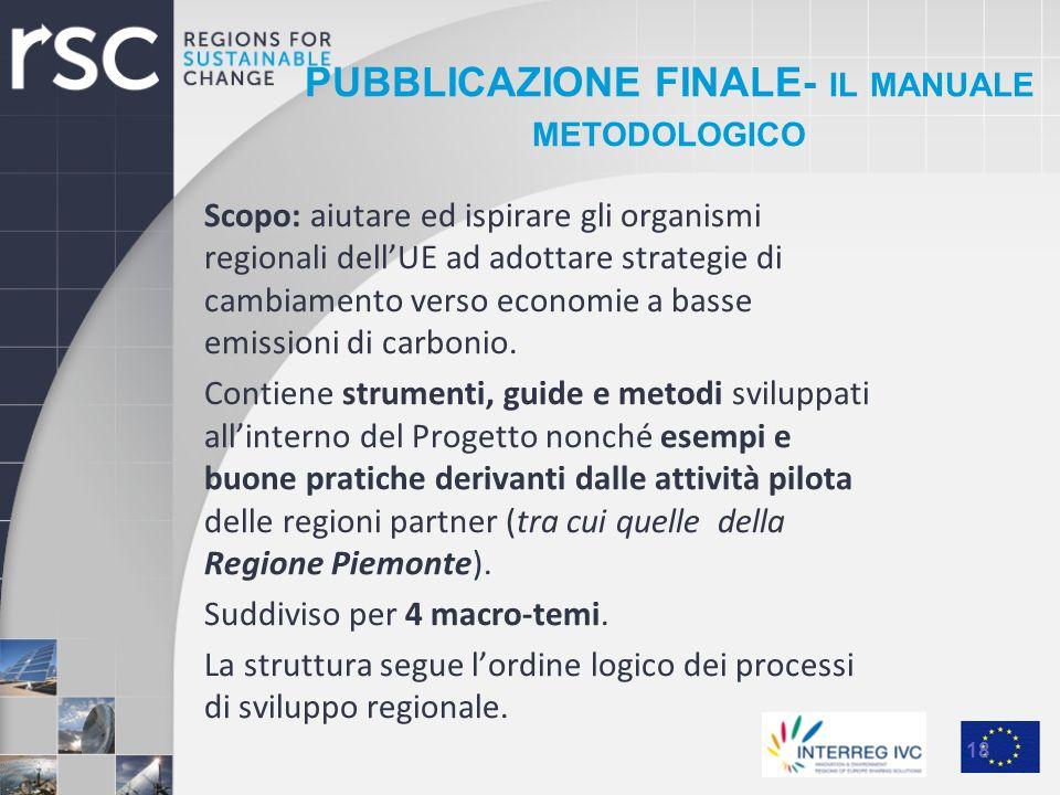 PUBBLICAZIONE FINALE- IL MANUALE METODOLOGICO Scopo: aiutare ed ispirare gli organismi regionali dellUE ad adottare strategie di cambiamento verso eco