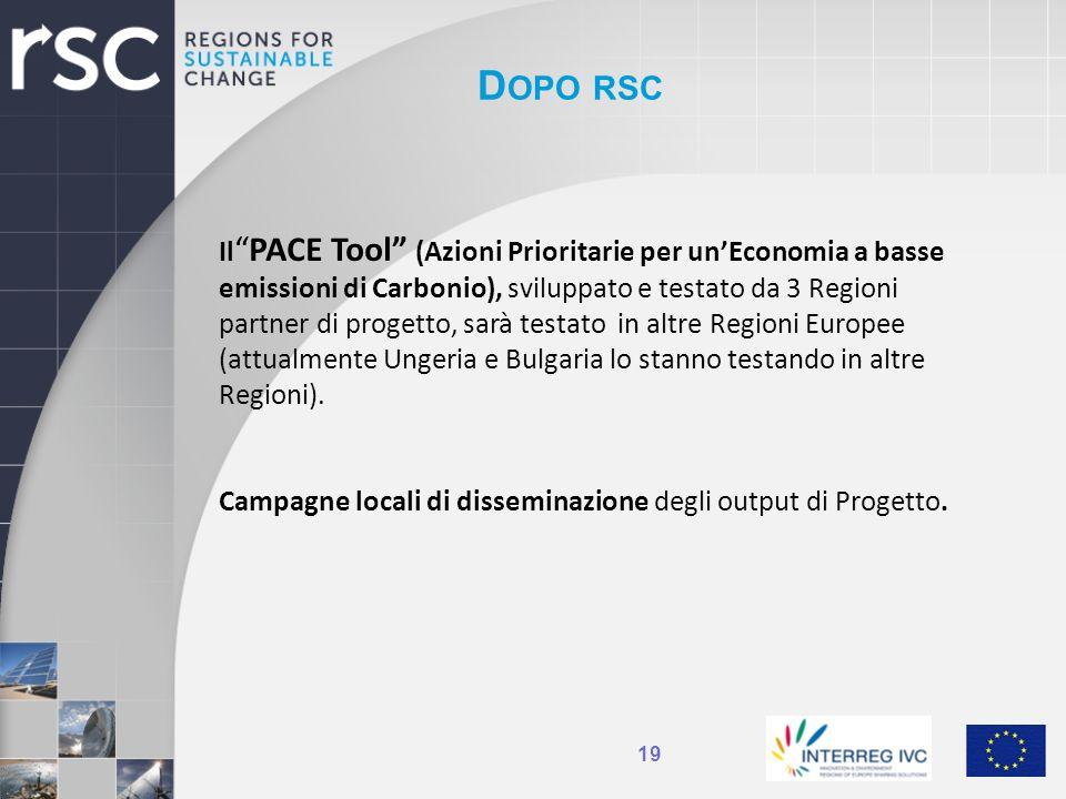 D OPO RSC 19 IlPACE Tool (Azioni Prioritarie per unEconomia a basse emissioni di Carbonio), sviluppato e testato da 3 Regioni partner di progetto, sar