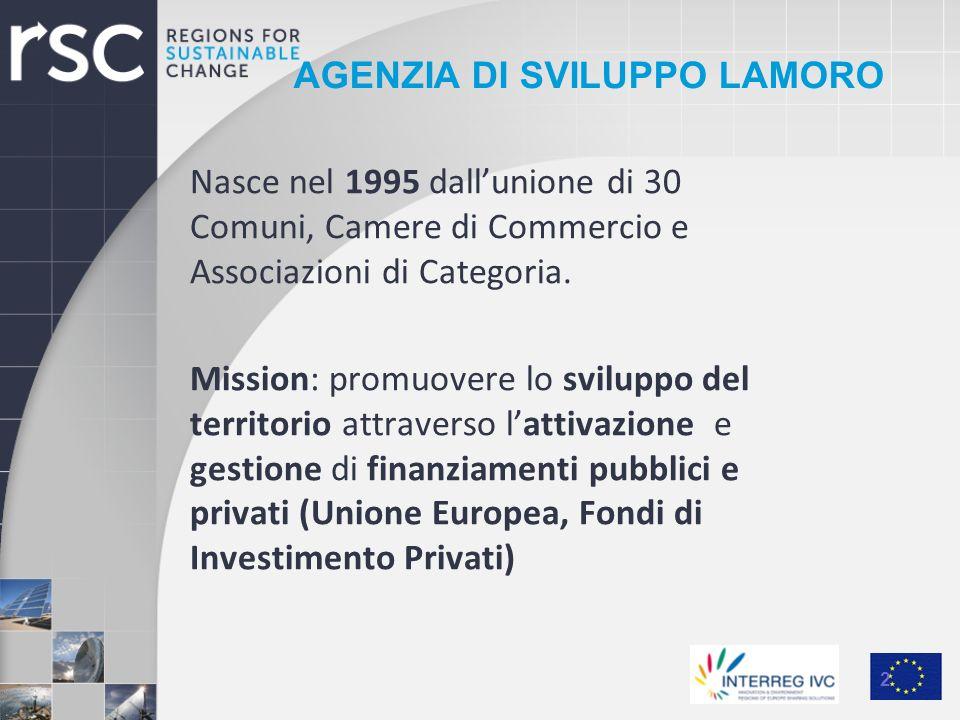 AGENZIA DI SVILUPPO LAMORO Nasce nel 1995 dallunione di 30 Comuni, Camere di Commercio e Associazioni di Categoria. Mission: promuovere lo sviluppo de