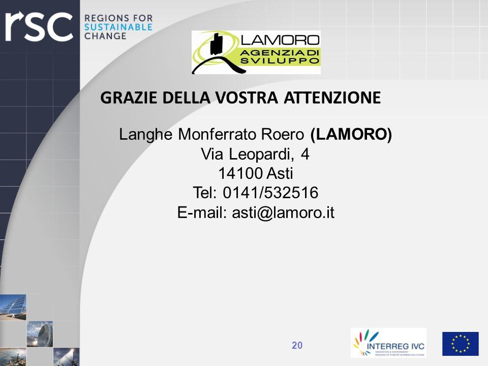 20 GRAZIE DELLA VOSTRA ATTENZIONE Langhe Monferrato Roero (LAMORO) Via Leopardi, 4 14100 Asti Tel: 0141/532516 E-mail: asti@lamoro.it