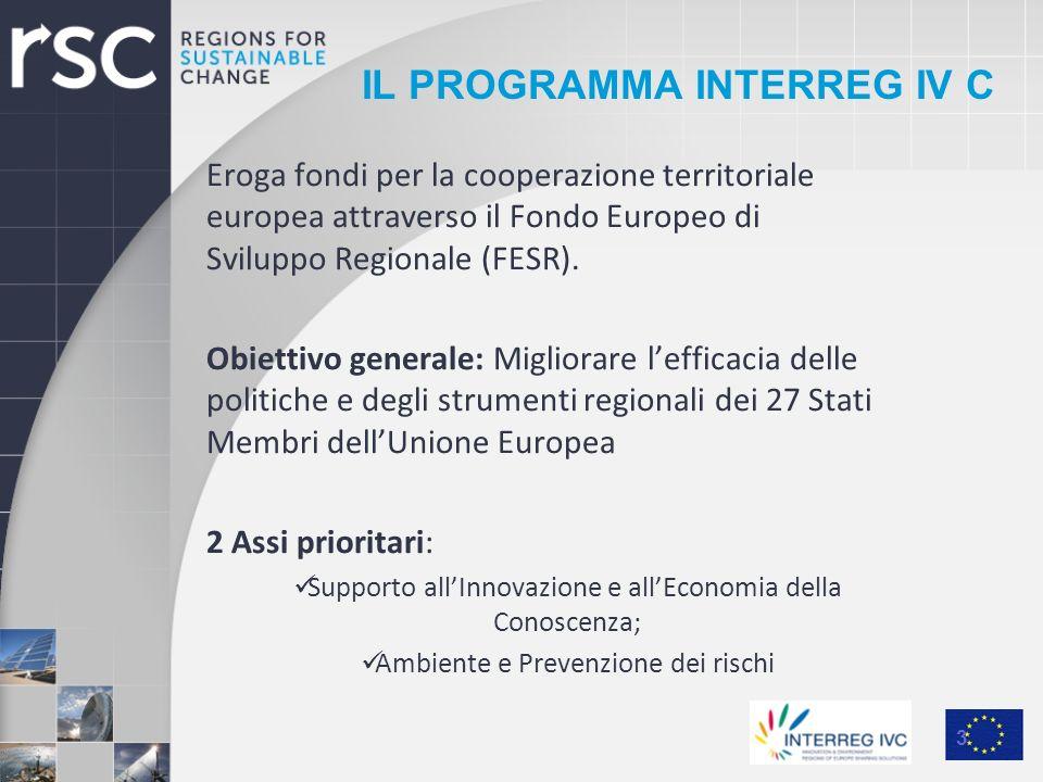 IL PROGRAMMA INTERREG IV C Eroga fondi per la cooperazione territoriale europea attraverso il Fondo Europeo di Sviluppo Regionale (FESR). Obiettivo ge