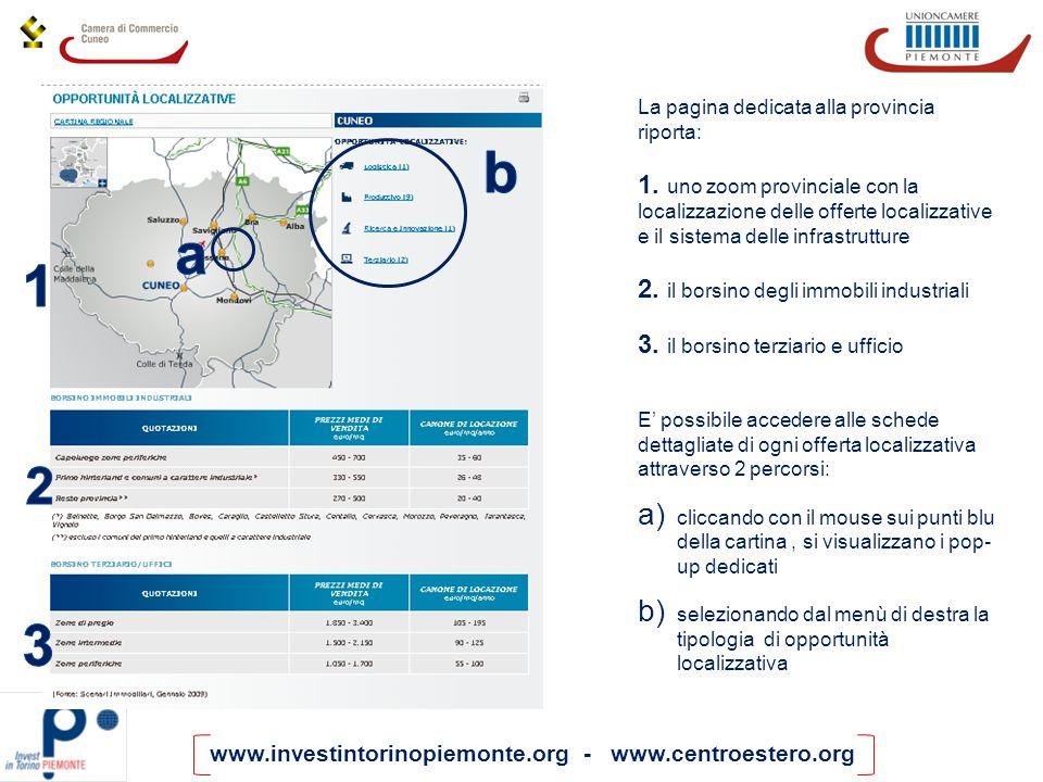 www.investintorinopiemonte.org - www.centroestero.org La pagina dedicata alla provincia riporta: 1. uno zoom provinciale con la localizzazione delle o
