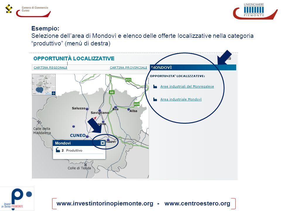 www.investintorinopiemonte.org - www.centroestero.org Esempio: Selezione dellarea di Mondovì e elenco delle offerte localizzative nella categoria prod
