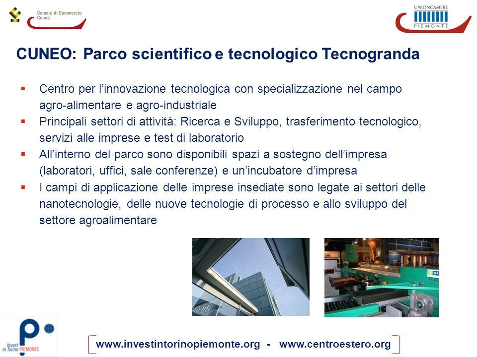 www.investintorinopiemonte.org - www.centroestero.org Centro per linnovazione tecnologica con specializzazione nel campo agro-alimentare e agro-indust
