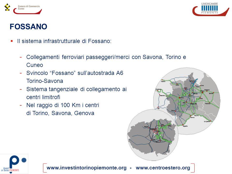 www.investintorinopiemonte.org - www.centroestero.org FOSSANO Il sistema infrastrutturale di Fossano: - Collegamenti ferroviari passeggeri/merci con S