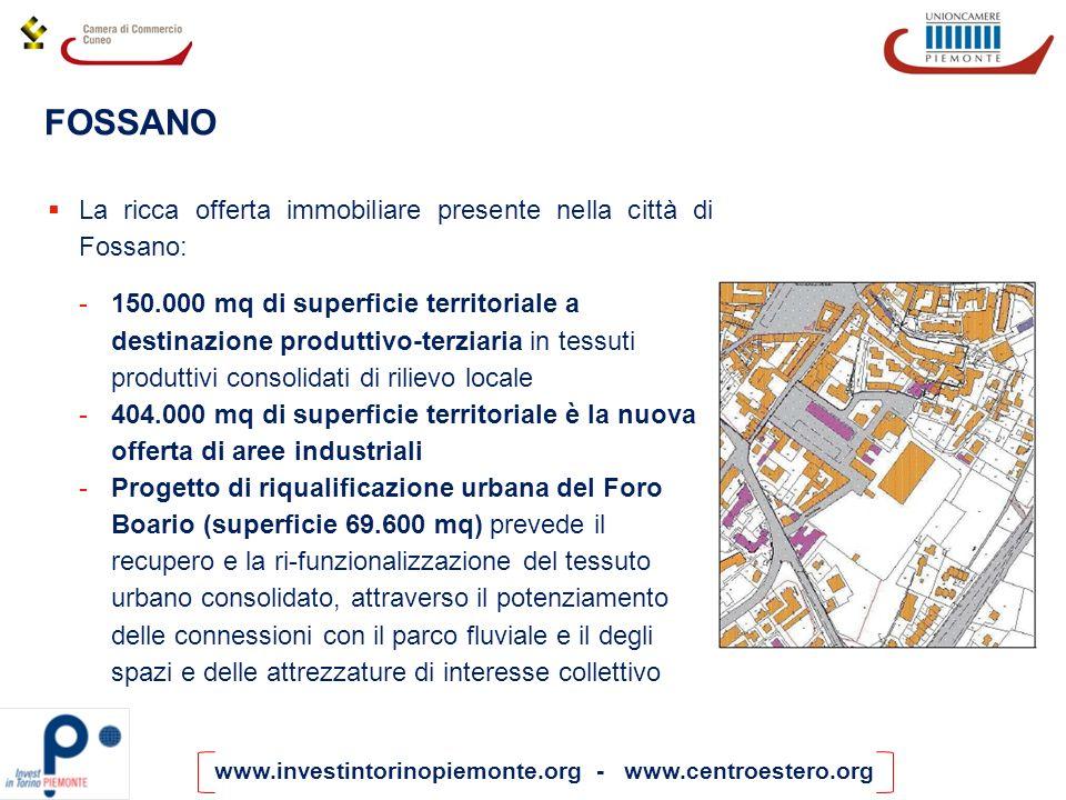 www.investintorinopiemonte.org - www.centroestero.org La ricca offerta immobiliare presente nella città di Fossano: -150.000 mq di superficie territor