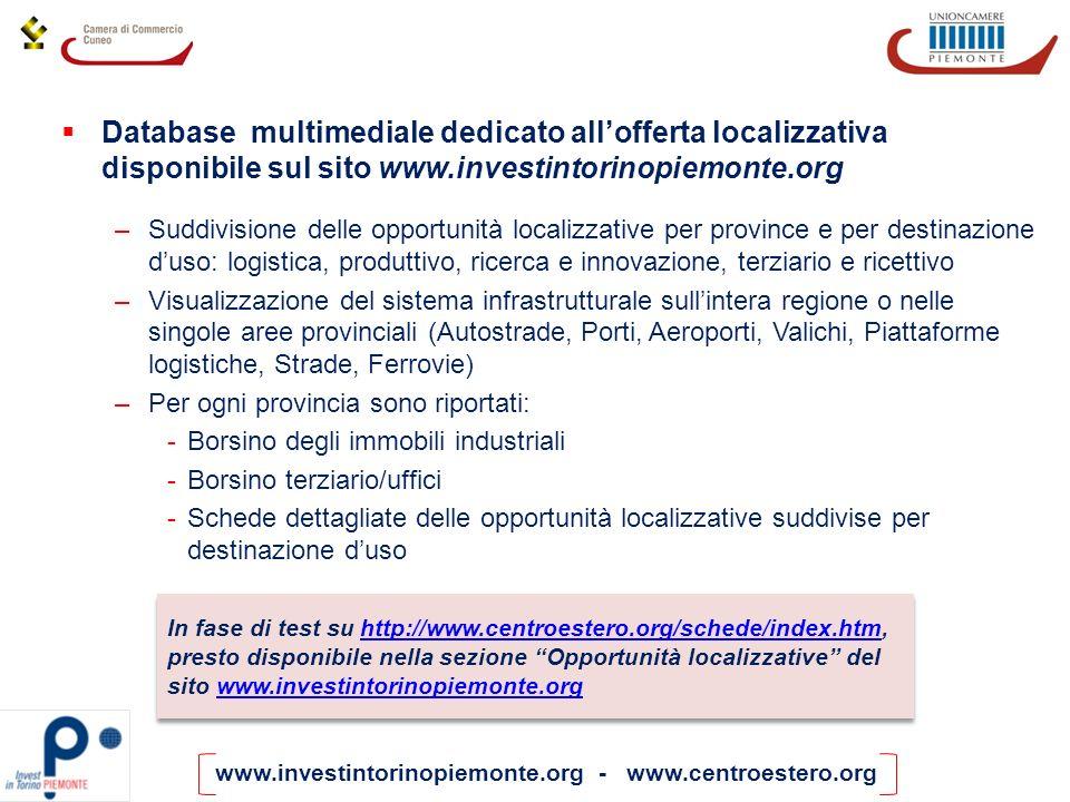 www.investintorinopiemonte.org - www.centroestero.org Database multimediale dedicato allofferta localizzativa disponibile sul sito www.investintorinop
