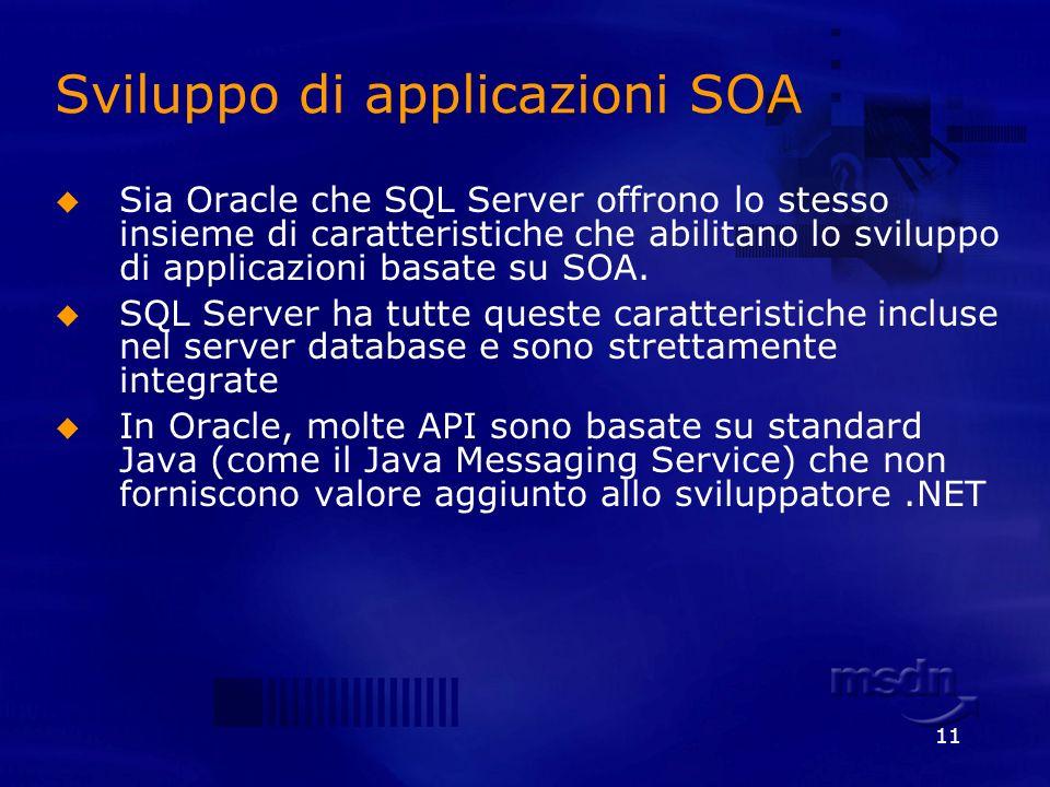 11 Sviluppo di applicazioni SOA Sia Oracle che SQL Server offrono lo stesso insieme di caratteristiche che abilitano lo sviluppo di applicazioni basat