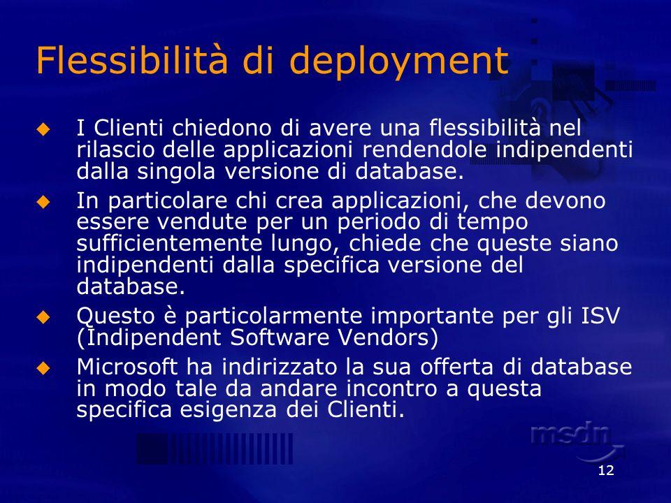 12 Flessibilità di deployment I Clienti chiedono di avere una flessibilità nel rilascio delle applicazioni rendendole indipendenti dalla singola versi