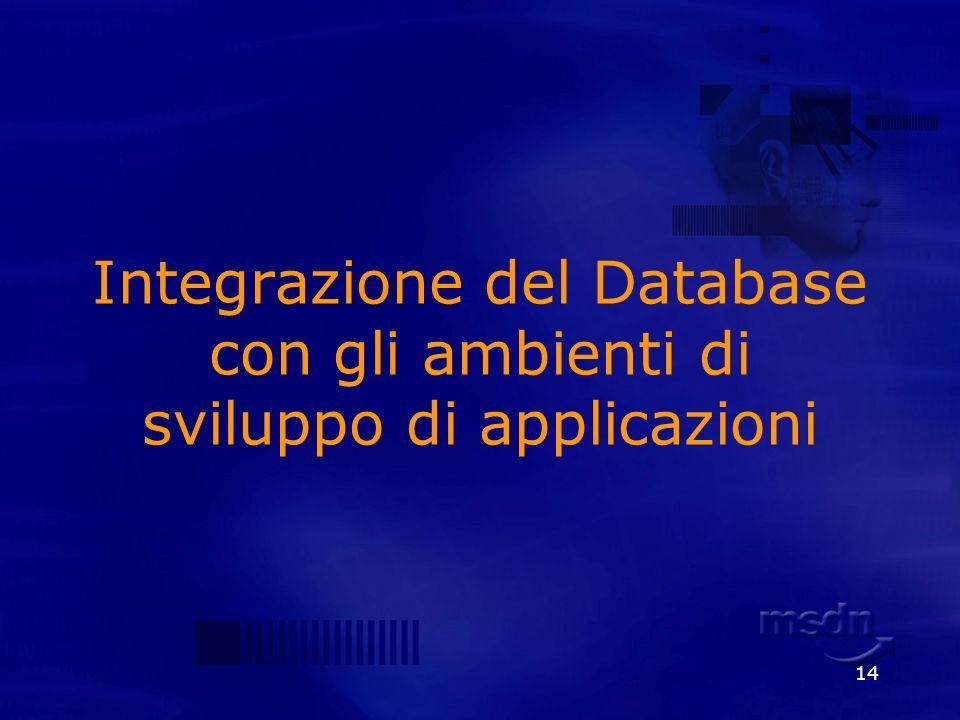 14 Integrazione del Database con gli ambienti di sviluppo di applicazioni