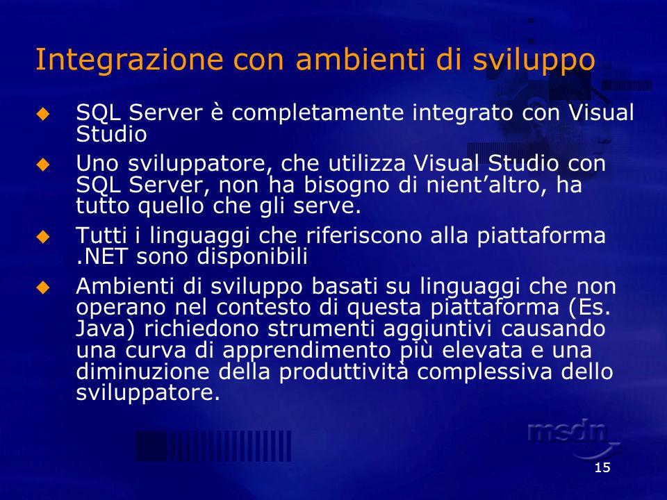 15 Integrazione con ambienti di sviluppo SQL Server è completamente integrato con Visual Studio Uno sviluppatore, che utilizza Visual Studio con SQL S