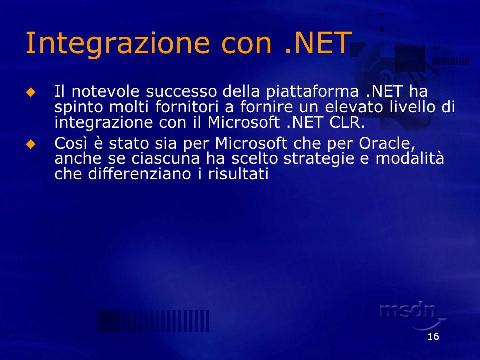 16 Integrazione con.NET Il notevole successo della piattaforma.NET ha spinto molti fornitori a fornire un elevato livello di integrazione con il Micro