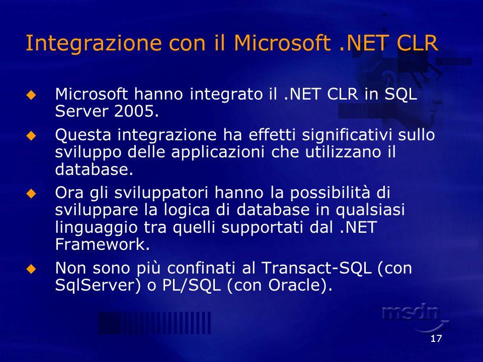 17 Integrazione con il Microsoft.NET CLR Microsoft hanno integrato il.NET CLR in SQL Server 2005. Questa integrazione ha effetti significativi sullo s