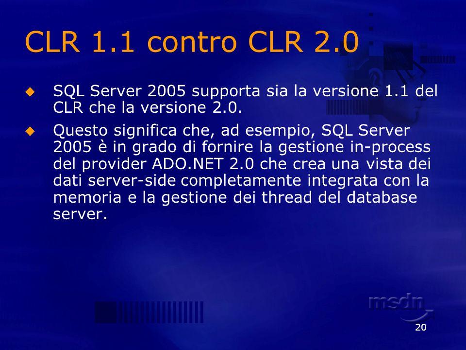 20 CLR 1.1 contro CLR 2.0 SQL Server 2005 supporta sia la versione 1.1 del CLR che la versione 2.0. Questo significa che, ad esempio, SQL Server 2005
