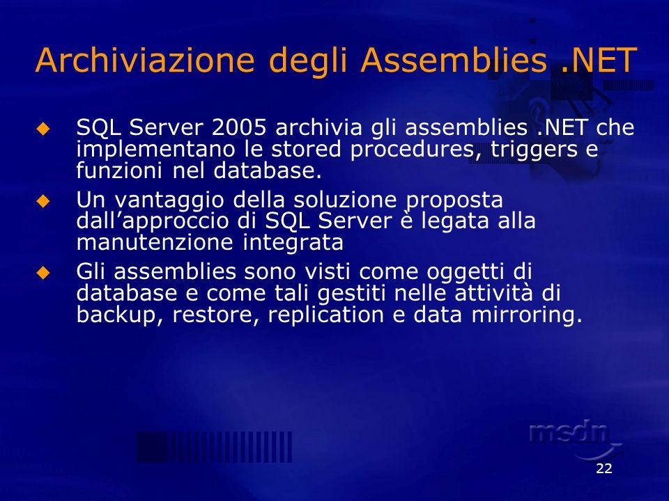22 Archiviazione degli Assemblies.NET SQL Server 2005 archivia gli assemblies.NET che implementano le stored procedures, triggers e funzioni nel datab