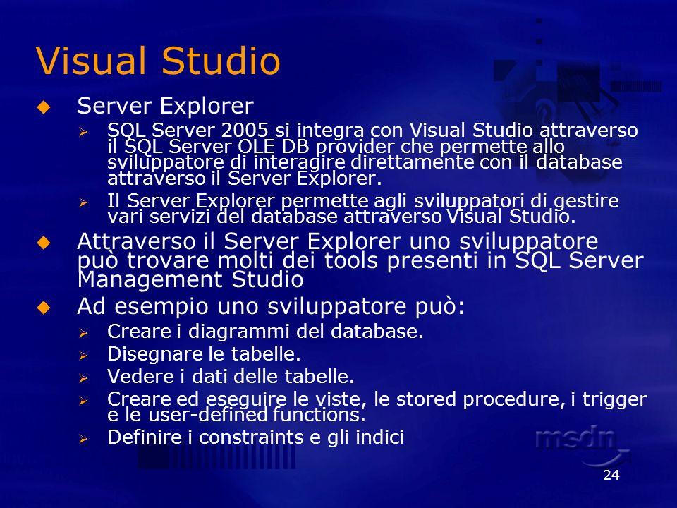 24 Visual Studio Server Explorer SQL Server 2005 si integra con Visual Studio attraverso il SQL Server OLE DB provider che permette allo sviluppatore