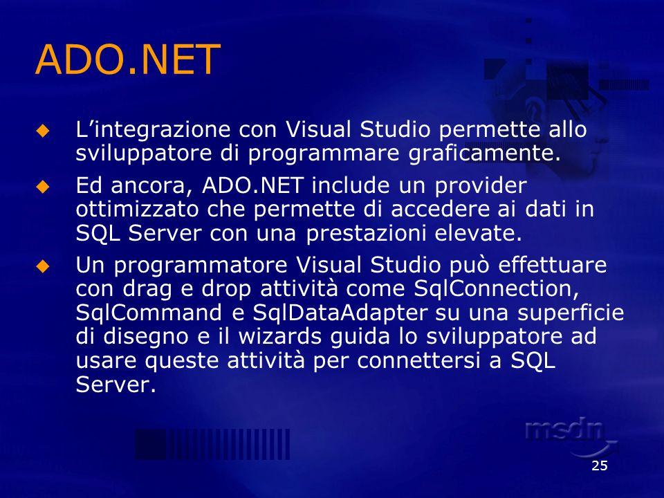 25 ADO.NET Lintegrazione con Visual Studio permette allo sviluppatore di programmare graficamente. Ed ancora, ADO.NET include un provider ottimizzato