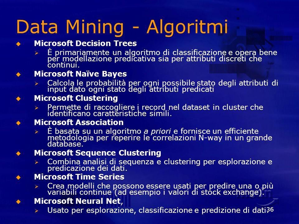 36 Data Mining - Algoritmi Microsoft Decision Trees È primariamente un algoritmo di classificazione e opera bene per modellazione predicativa sia per