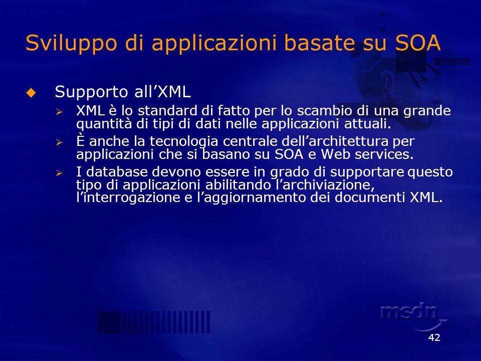 42 Sviluppo di applicazioni basate su SOA Supporto allXML XML è lo standard di fatto per lo scambio di una grande quantità di tipi di dati nelle appli