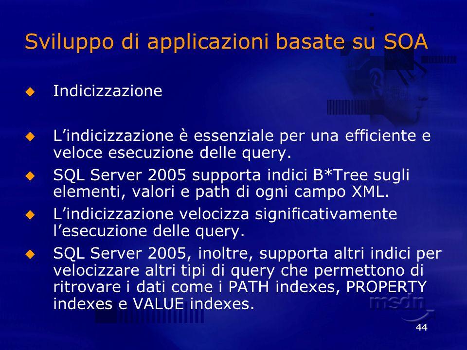 44 Sviluppo di applicazioni basate su SOA Indicizzazione Lindicizzazione è essenziale per una efficiente e veloce esecuzione delle query. SQL Server 2