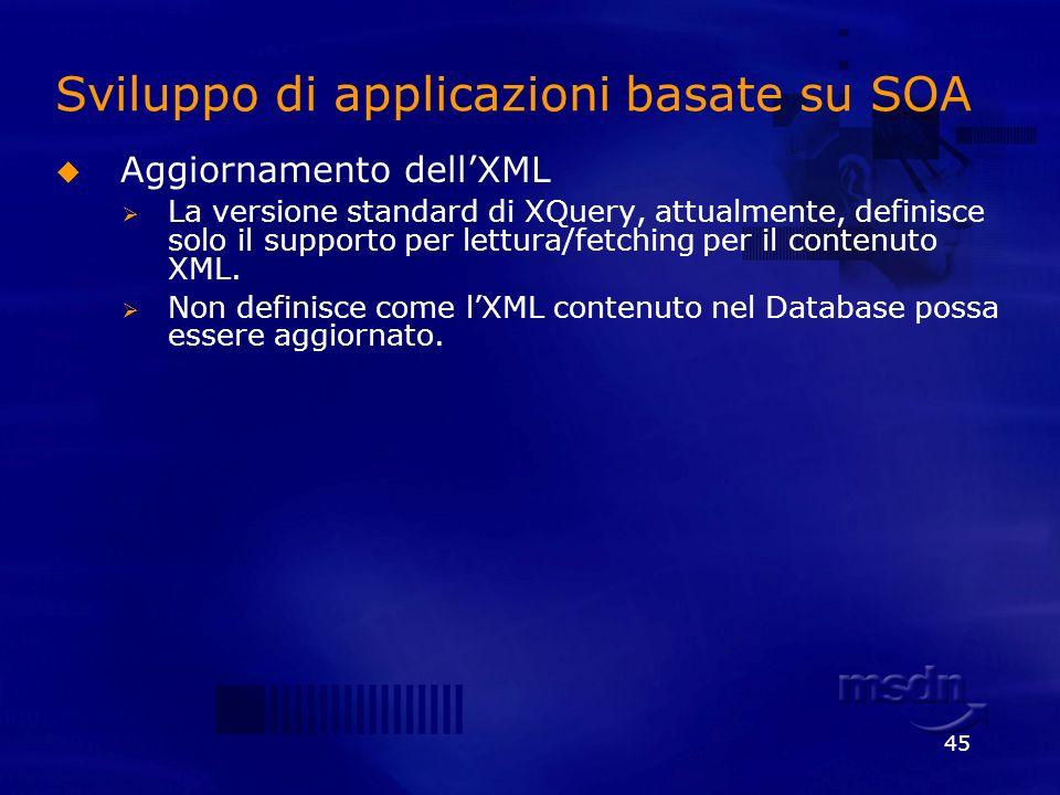 45 Sviluppo di applicazioni basate su SOA Aggiornamento dellXML La versione standard di XQuery, attualmente, definisce solo il supporto per lettura/fe