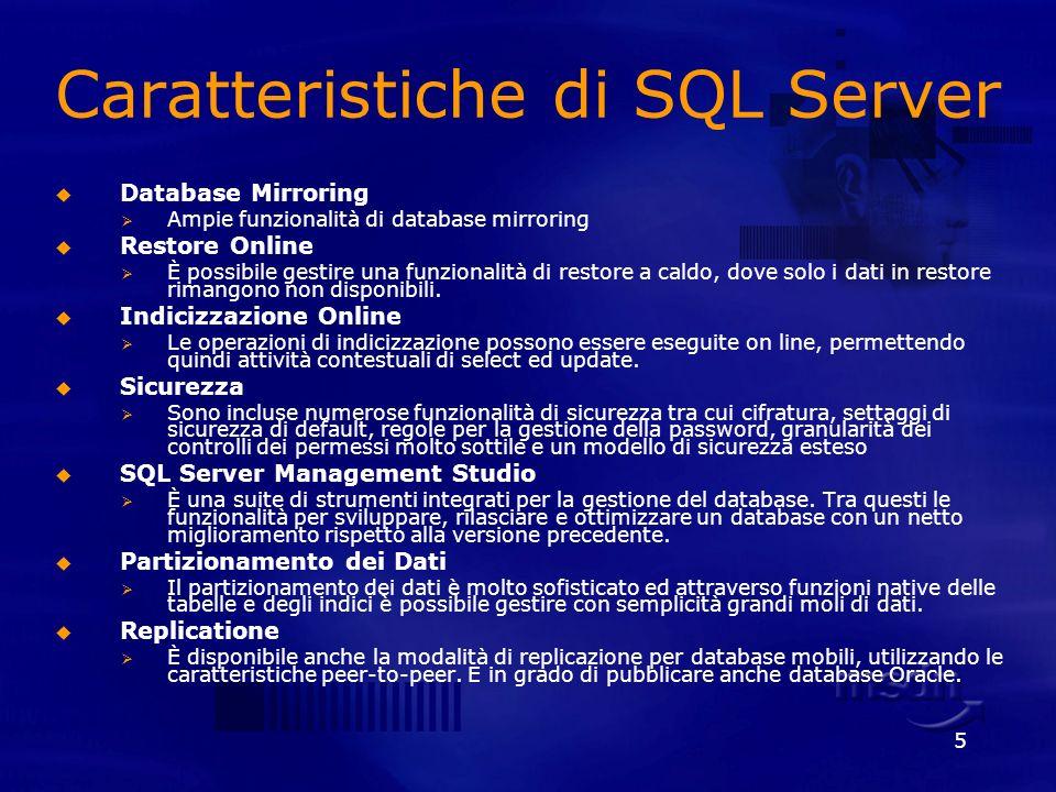5 Caratteristiche di SQL Server Database Mirroring Ampie funzionalità di database mirroring Restore Online È possibile gestire una funzionalità di res
