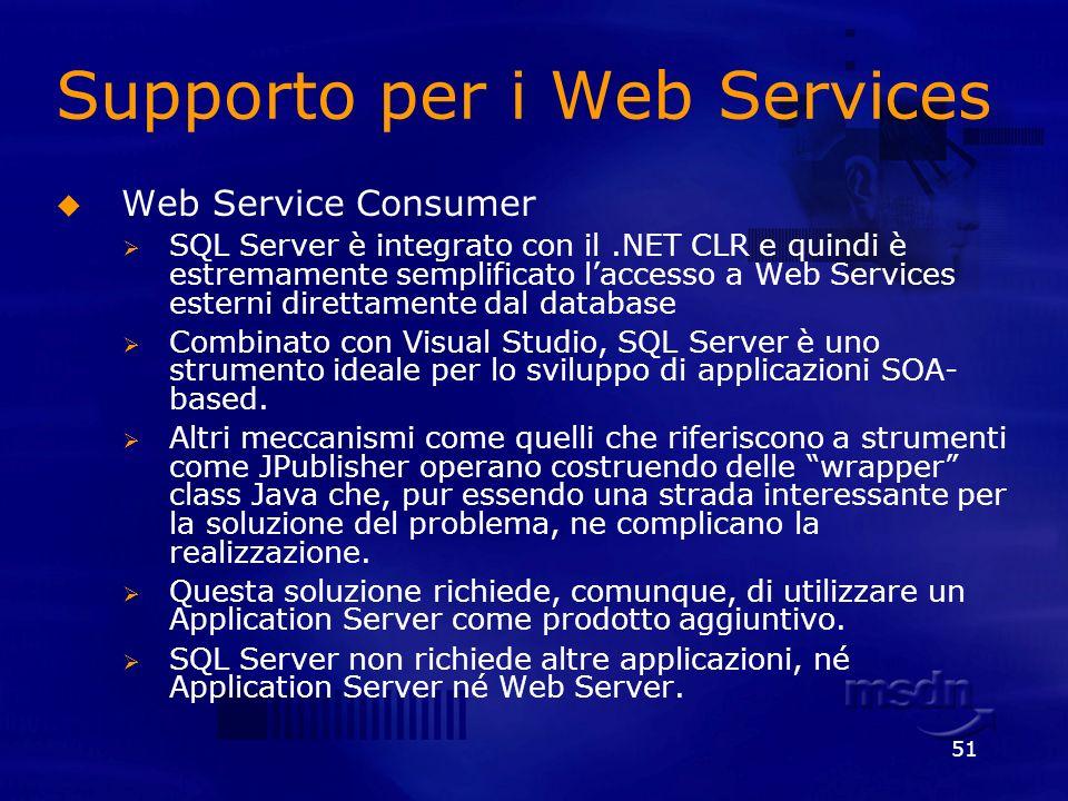 51 Supporto per i Web Services Web Service Consumer SQL Server è integrato con il.NET CLR e quindi è estremamente semplificato laccesso a Web Services