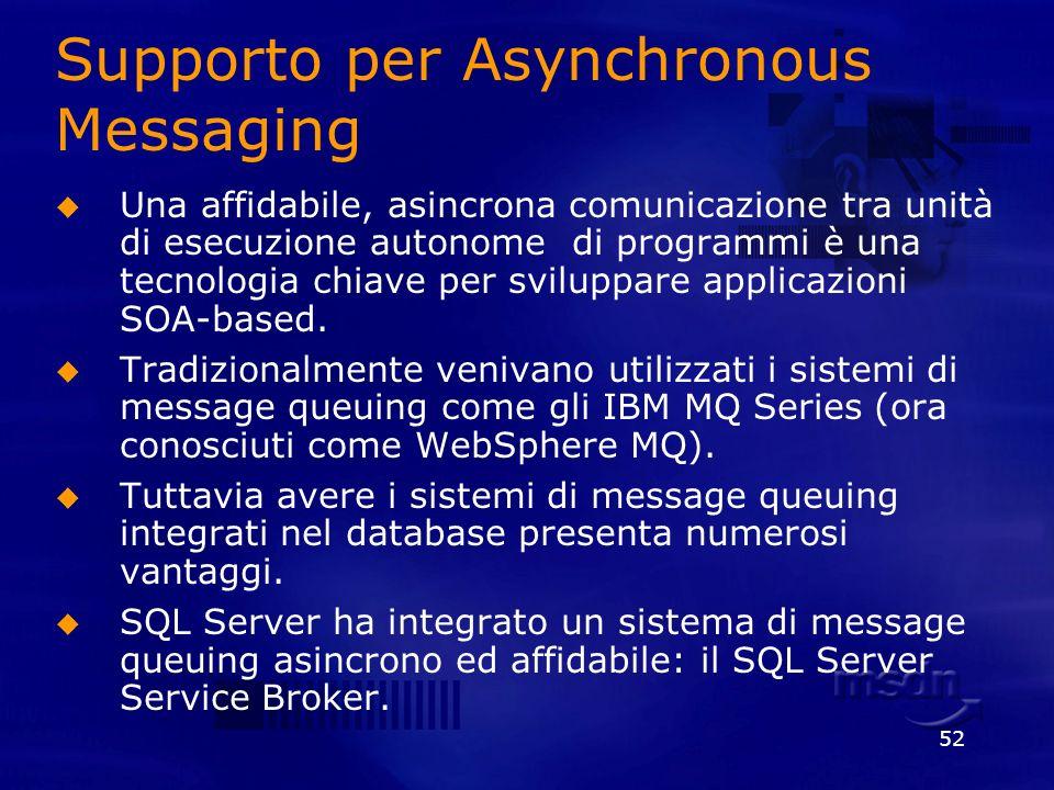 52 Supporto per Asynchronous Messaging Una affidabile, asincrona comunicazione tra unità di esecuzione autonome di programmi è una tecnologia chiave p