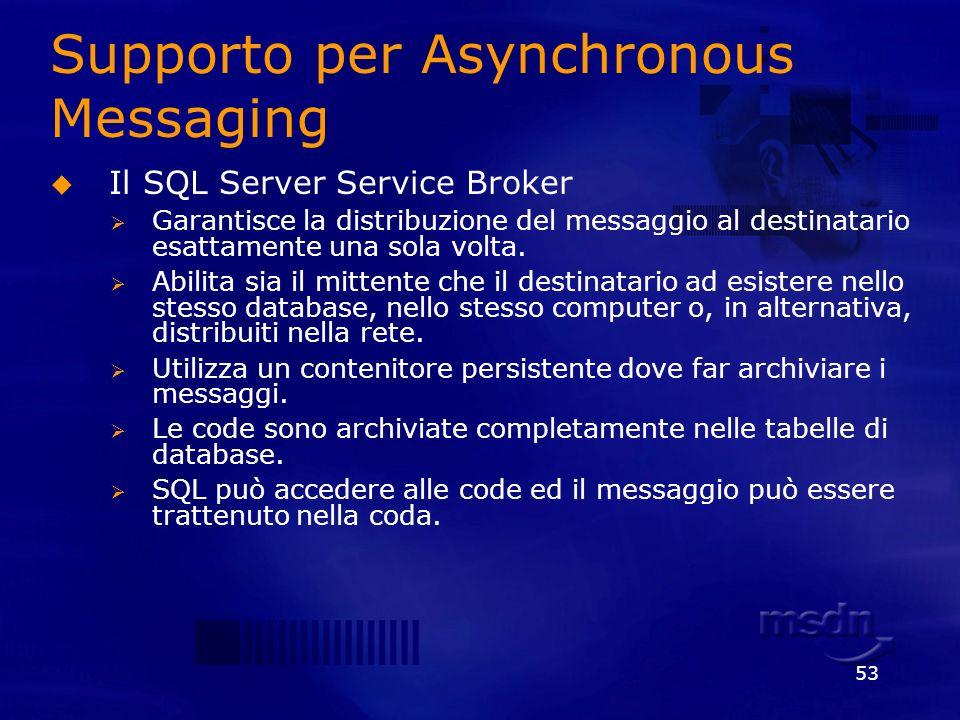 53 Supporto per Asynchronous Messaging Il SQL Server Service Broker Garantisce la distribuzione del messaggio al destinatario esattamente una sola vol
